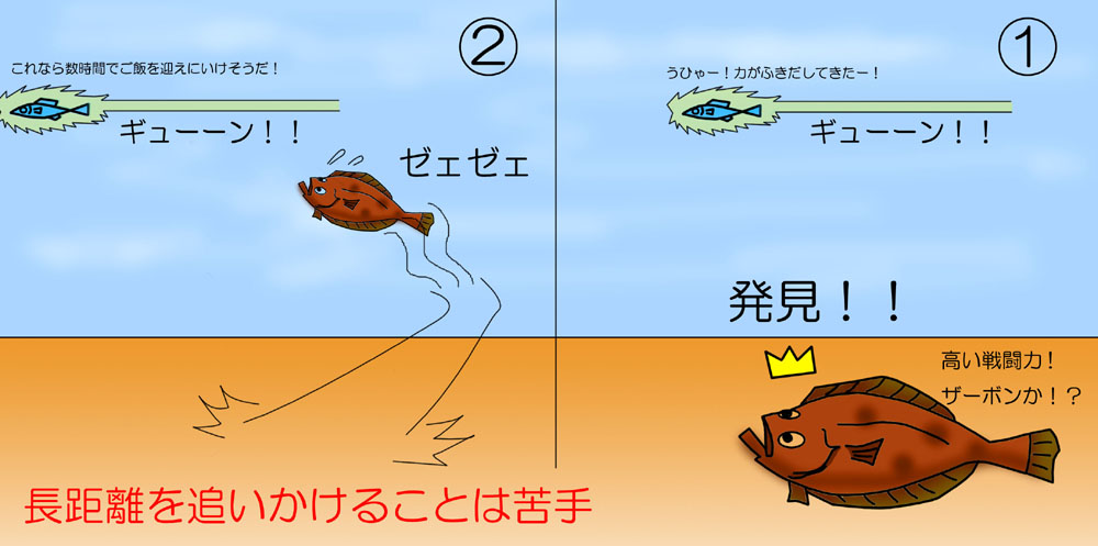 ヒラメの捕食(追い食いパターン)